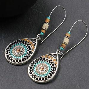Boho Teardrop Silvertone W/ Beads Earrings